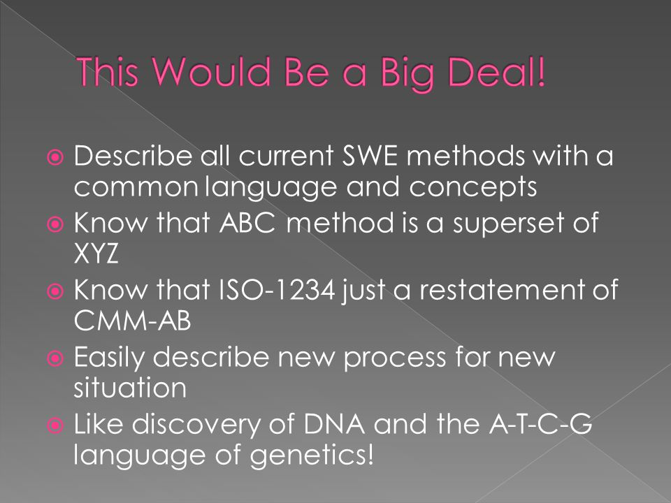  Describe all current SWE methods with a common language and concepts  Know that ABC method is a superset of XYZ  Know that ISO-1234 just a restate