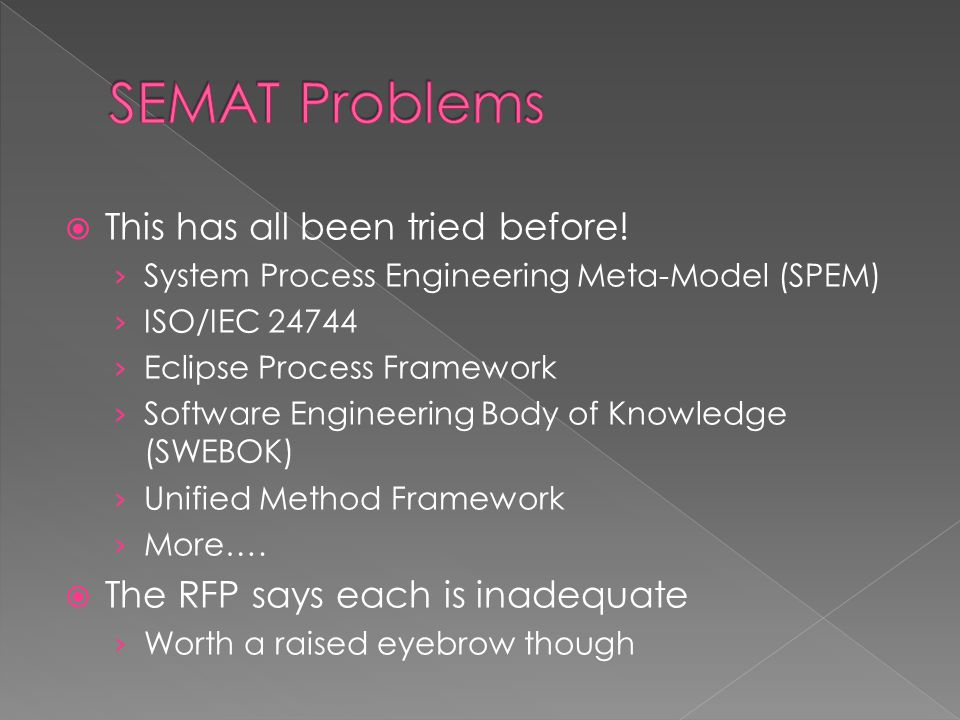  This has all been tried before! › System Process Engineering Meta-Model (SPEM) › ISO/IEC 24744 › Eclipse Process Framework › Software Engineering Bo
