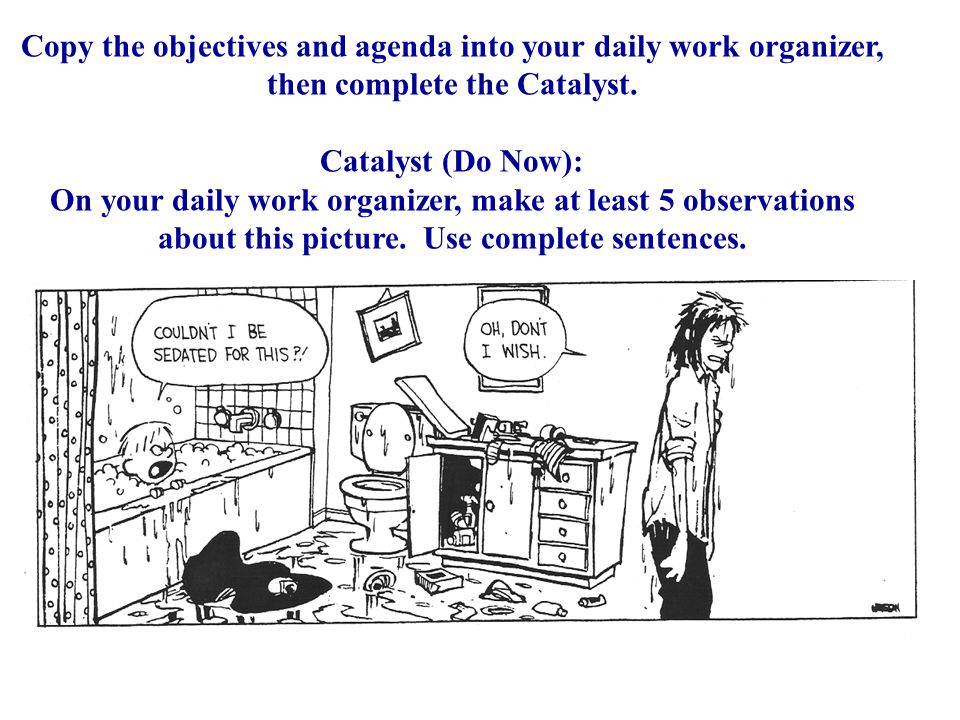 Copy the objectives and agenda into your daily work organizer, then complete the Catalyst.