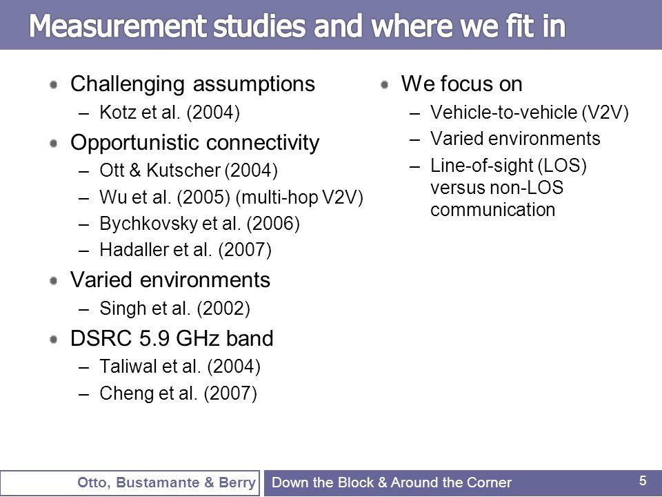 Otto, Bustamante & Berry 5 Challenging assumptions –Kotz et al. (2004) Opportunistic connectivity –Ott & Kutscher (2004) –Wu et al. (2005) (multi-hop