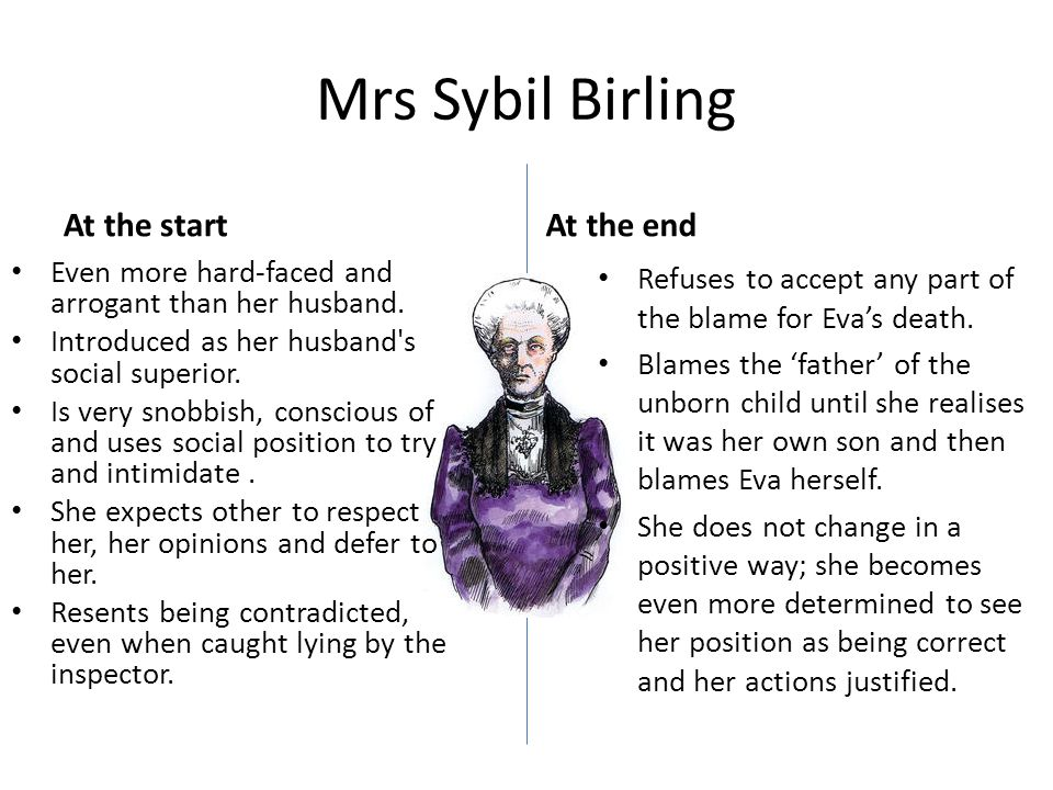 Mrs Sybil Birling At the start Even more hard-faced and arrogant than her husband.