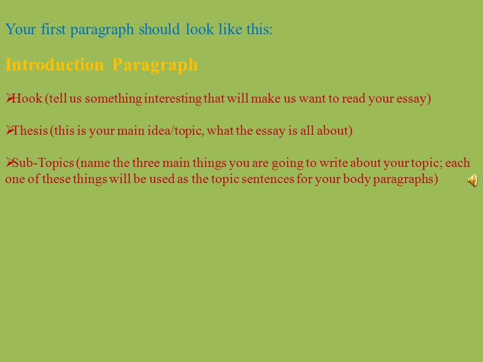 Your first paragraph should look like this: Introduction Paragraph  Hook (tell us something interesting that will make us want to read your essay) 