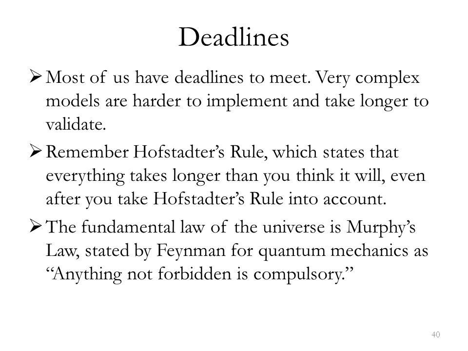 Deadlines  Most of us have deadlines to meet.