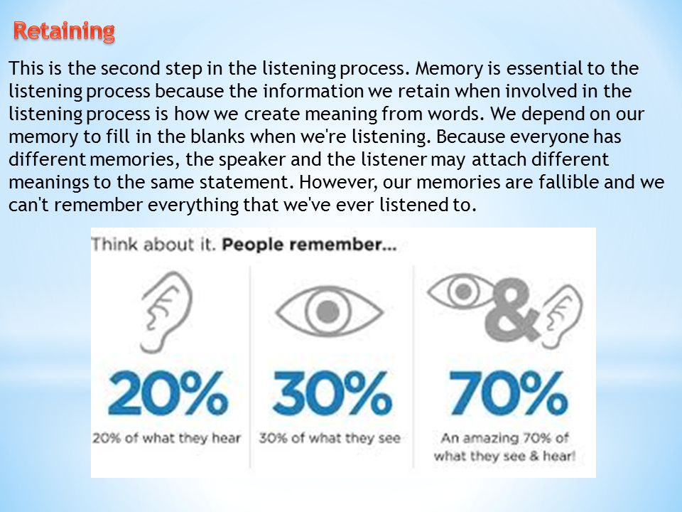 This is the second step in the listening process. Memory is essential to the listening process because the information we retain when involved in the