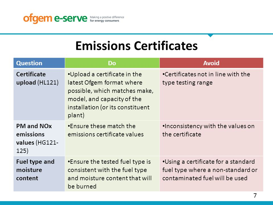 7 Emissions Certificates QuestionDoAvoid Certificate upload (HL121) Upload a certificate in the latest Ofgem format where possible, which matches make, model, and capacity of the installation (or its constituent plant) Certificates not in line with the type testing range PM and NOx emissions values (HG121- 125) Ensure these match the emissions certificate values Inconsistency with the values on the certificate Fuel type and moisture content Ensure the tested fuel type is consistent with the fuel type and moisture content that will be burned Using a certificate for a standard fuel type where a non-standard or contaminated fuel will be used