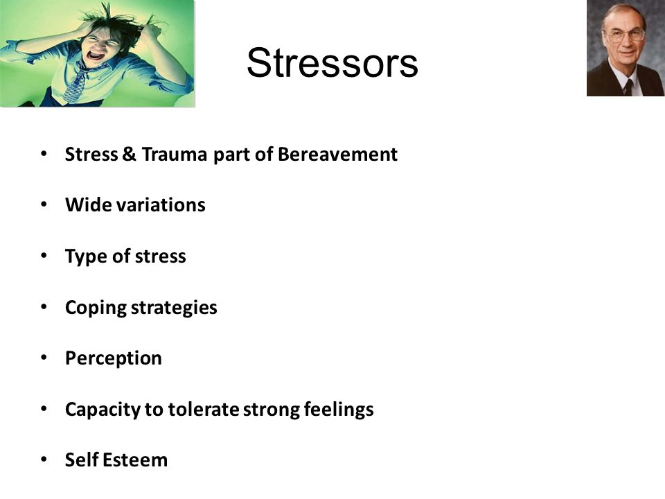 Stressors Stress & Trauma part of Bereavement Wide variations Type of stress Coping strategies Perception Capacity to tolerate strong feelings Self Esteem