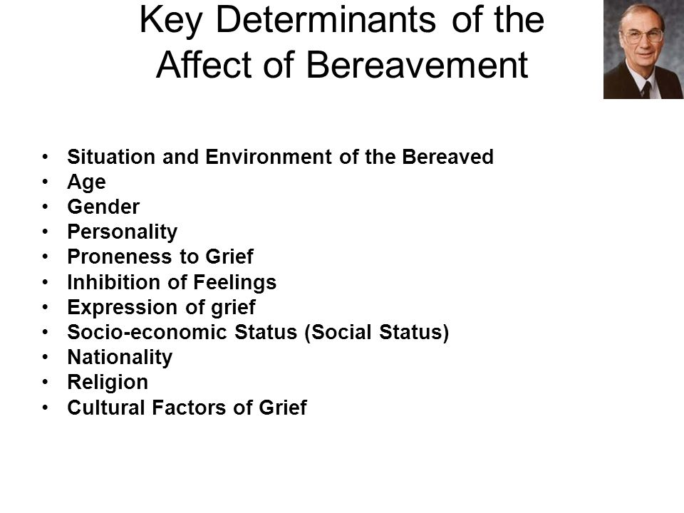 Key Determinants of the Affect of Bereavement Situation and Environment of the Bereaved Age Gender Personality Proneness to Grief Inhibition of Feelings Expression of grief Socio-economic Status (Social Status) Nationality Religion Cultural Factors of Grief