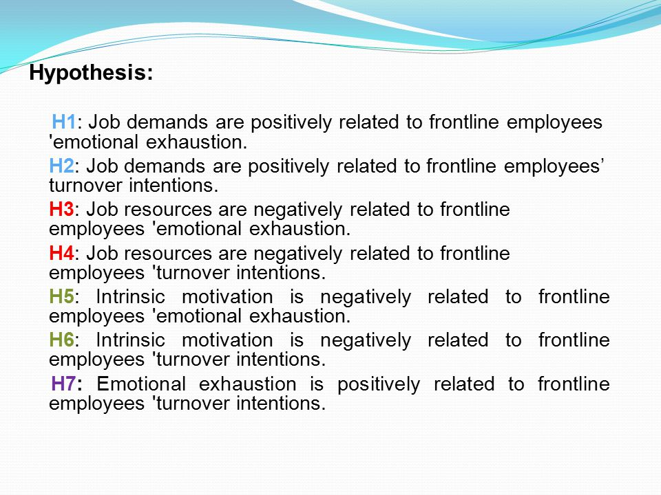 H1: Job demands are positively related to frontline employees emotional exhaustion.