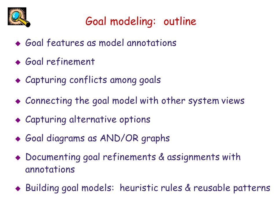 Goal features are specified in model annotations Goal Maintain [DoorsClosedWhileMoving] Def All train doors shall be kept closed at any time when the train is moving not [ FormalSpec  in temporal logic for analysis, not in this chapter  ] [ Category Safety ] [ Priority Highest ] [ Source From interview with railway engineer X...