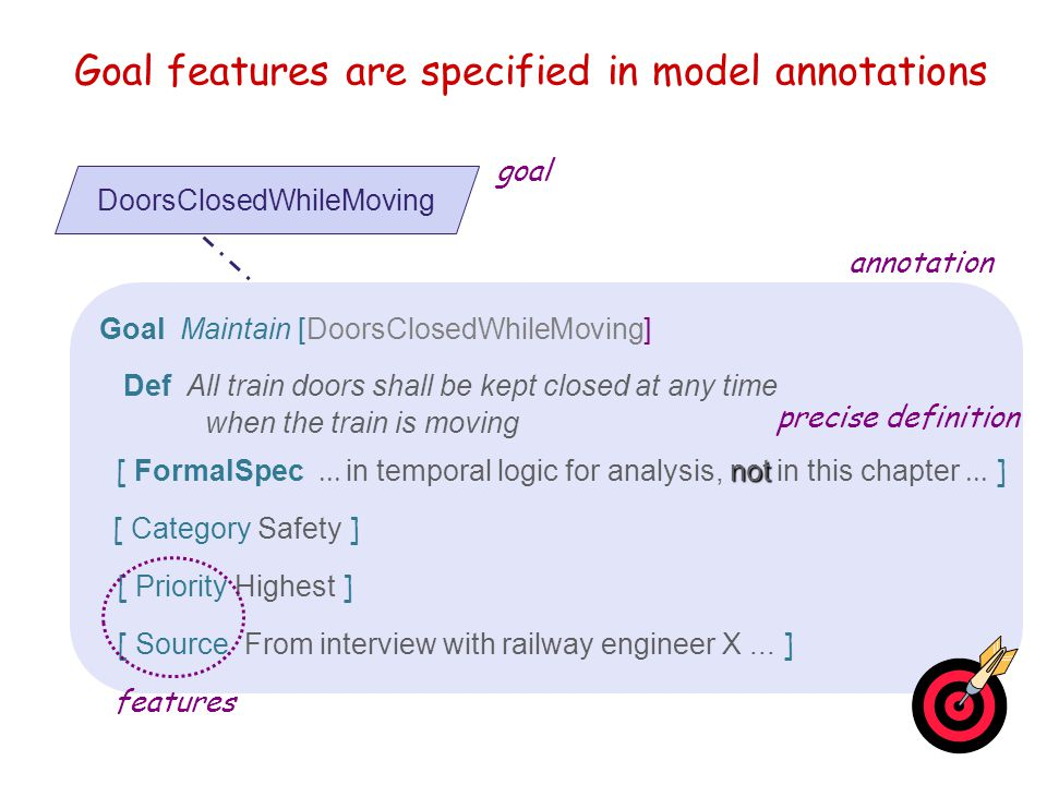 Goal modeling: outline  Goal features as model annotations  Goal refinement  Capturing conflicts among goals  Connecting the goal model with other system views  Capturing alternative options  Goal diagrams as AND/OR graphs  Documenting goal refinements & assignments with annotations  Building goal models: heuristic rules & reusable patterns
