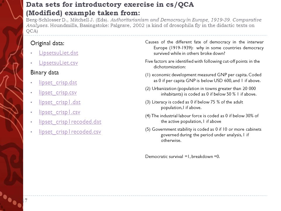 Data sets for introductory exercise in cs/QCA (Modified) example taken from: Berg-Schlosser D., Mitchell J.