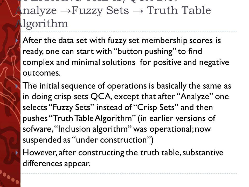 CRISP SETS versus FUZZY SETS : OPERATING THE fs/QCA 2.0.