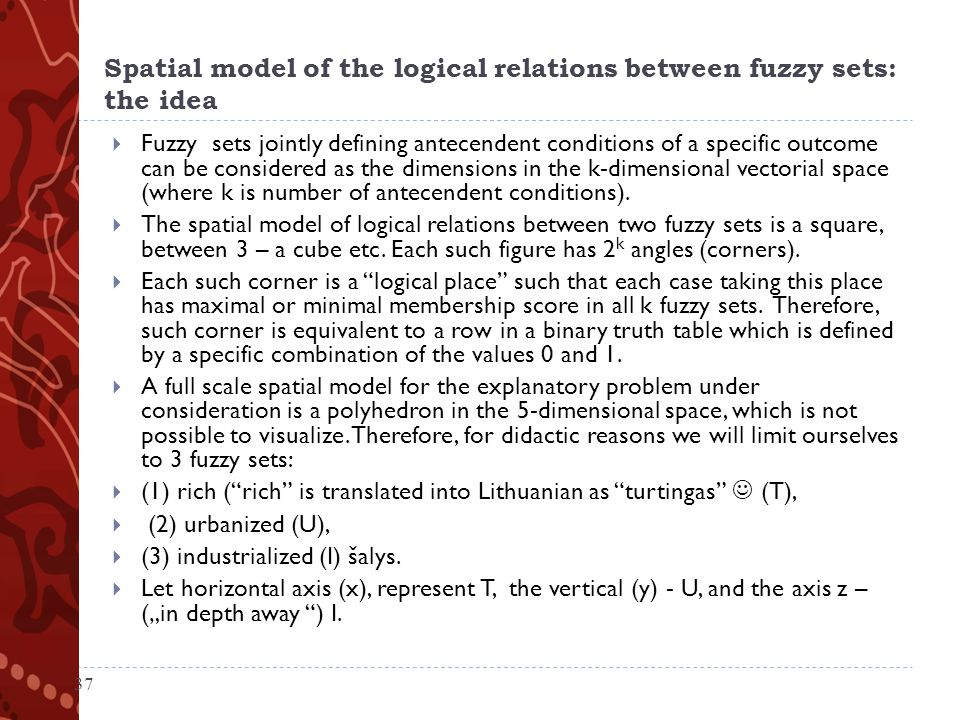 Spatial model of the logical relations between fuzzy sets: the idea  Fuzzy sets jointly defining antecendent conditions of a specific outcome can be considered as the dimensions in the k-dimensional vectorial space (where k is number of antecendent conditions).