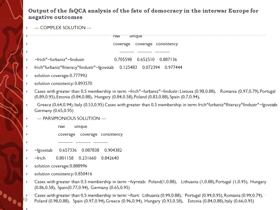 Output of the fsQCA analysis of the fate of democracy in the interwar Europe for negative outcomes  --- COMPLEX SOLUTION ---  raw unique  coverage coverage consistency  ---------- ---------- ----------  ~frich*~furbaniz*~findustr 0.705598 0.652510 0.887136  frich*furbaniz*fliteracy*findustr*~fgovstab 0.125483 0.072394 0.977444  solution coverage: 0.777992  solution consistency: 0.893570  Cases with greater than 0.5 membership in term ~frich*~furbaniz*~findustr: Lietuva (0.98,0.88), Romania (0.97,0.79), Portugal (0.89,0.95), Estonia (0.84,0.88), Hungary (0.84,0.58), Poland (0.83,0.88), Spain (0.7,0.94),  Greece (0.64,0.94), Italy (0.53,0.95) Cases with greater than 0.5 membership in term frich*furbaniz*fliteracy*findustr*~fgovstab: Germany (0.65,0.95)  --- PARSIMONIOUS SOLUTION ---  raw unique  coverage coverage consistency  ---------- ---------- ----------  ~fgovstab 0.657336 0.087838 0.904382  ~frich 0.801158 0.231660 0.842640  solution coverage: 0.888996  solution consistency: 0.850416  Cases with greater than 0.5 membership in term ~fvyrstab: Poland(1,0.88), Lithuania (1,0.88), Portugal (1,0.95), Hungary (0.86,0.58), Spain(0.77,0.94), Germany (0.65,0.95)  Cases with greater than 0.5 membership in term ~fturt: Lithuania (0.99,0.88), Portugal (0.99,0.95), Romania (0.99,0.79), Poland (0.98,0.88), Spain (0.97,0.94), Greece (0.96,0.94), Hungary (0.93,0.58), Estonia (0.84,0.88), Italy (0.66,0.95)  50