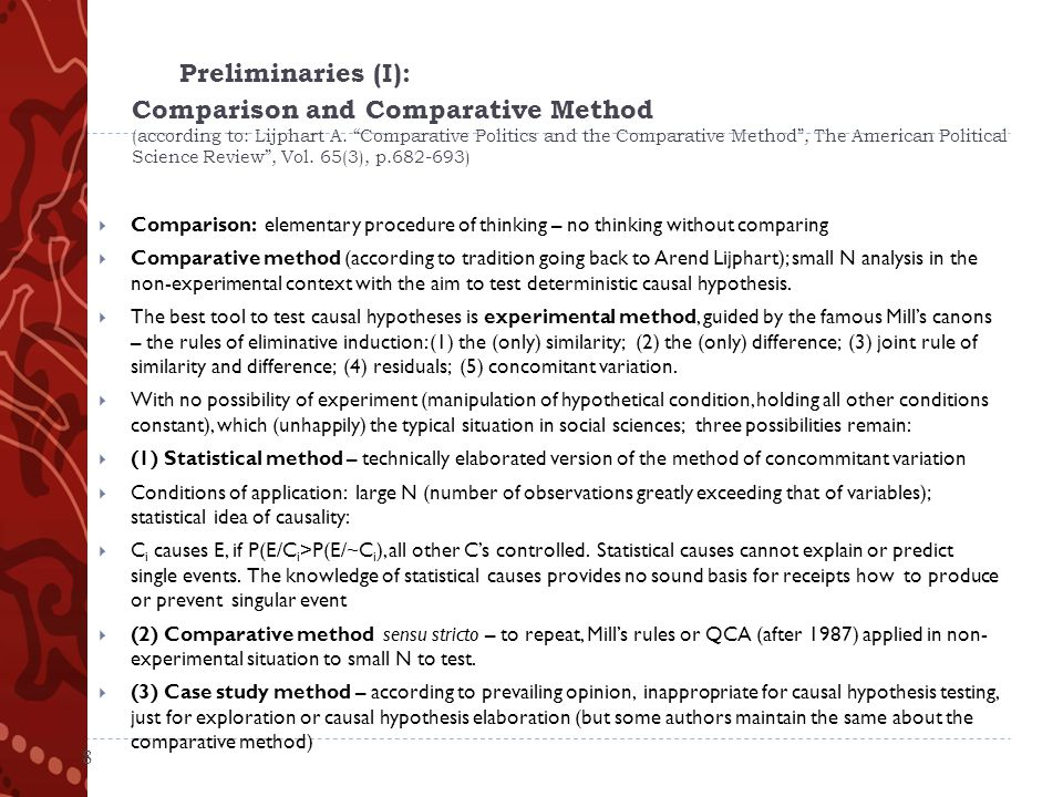 Preliminaries (I): Comparison and Comparative Method (according to: Lijphart A.