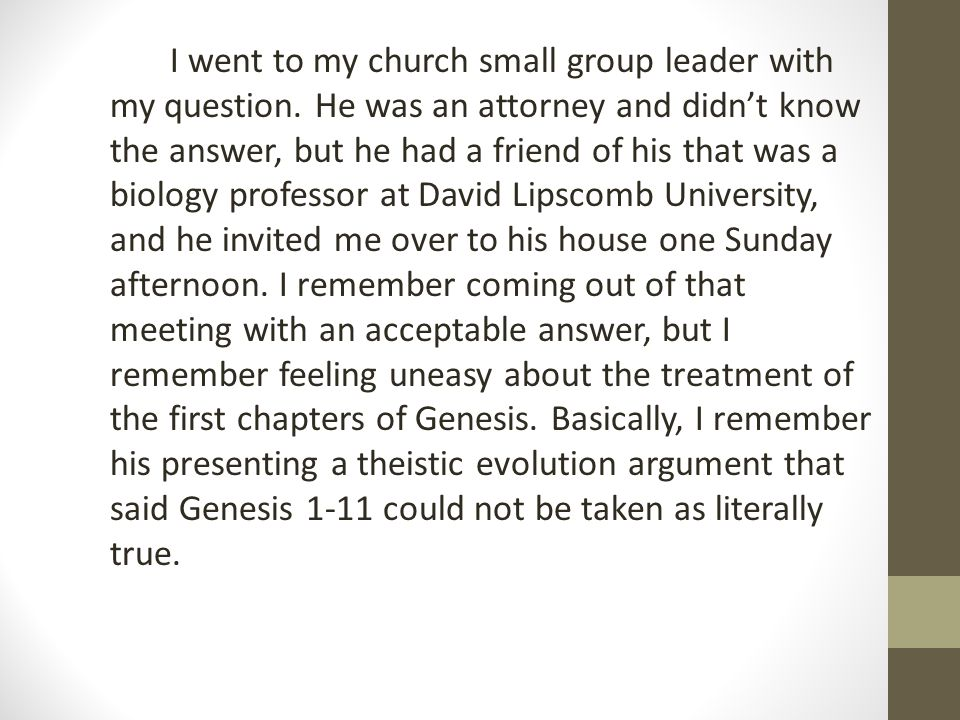 I went to my church small group leader with my question. He was an attorney and didn't know the answer, but he had a friend of his that was a biology