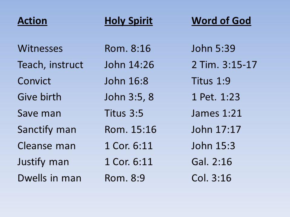 ActionHoly SpiritWord of God WitnessesRom. 8:16 John 5:39 Teach, instructJohn 14:262 Tim. 3:15-17 ConvictJohn 16:8Titus 1:9 Give birthJohn 3:5, 81 Pet