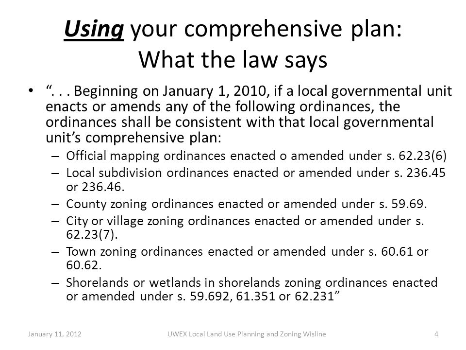 Using your comprehensive plan: What the law says ...