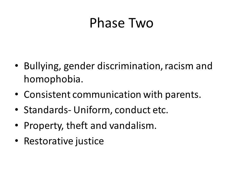 Phase Two Bullying, gender discrimination, racism and homophobia.