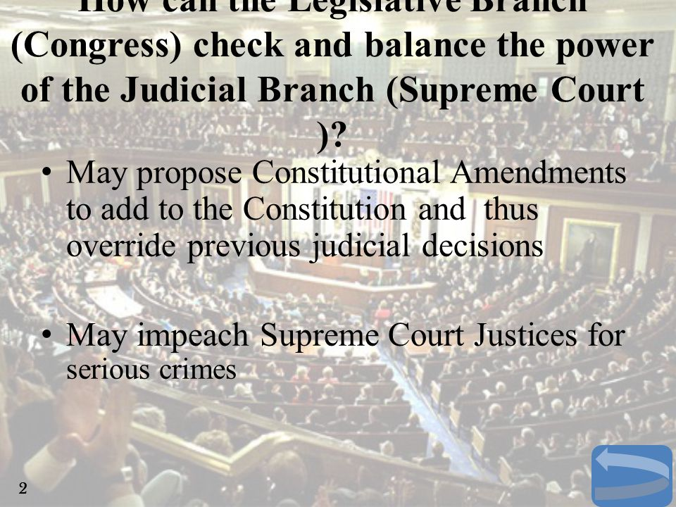 The President appoints justices (judges) to the Supreme Court –With congressional approval –They serve for life, so long as they are not impeached for serious crimes How can the Executive Branch (President) check and balance the power of the Judicial Branch (Supreme Court ).