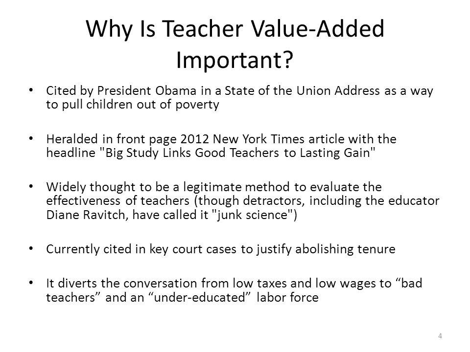 Part I: Key Question Does teacher quality, as measured by Teacher VA, matter.