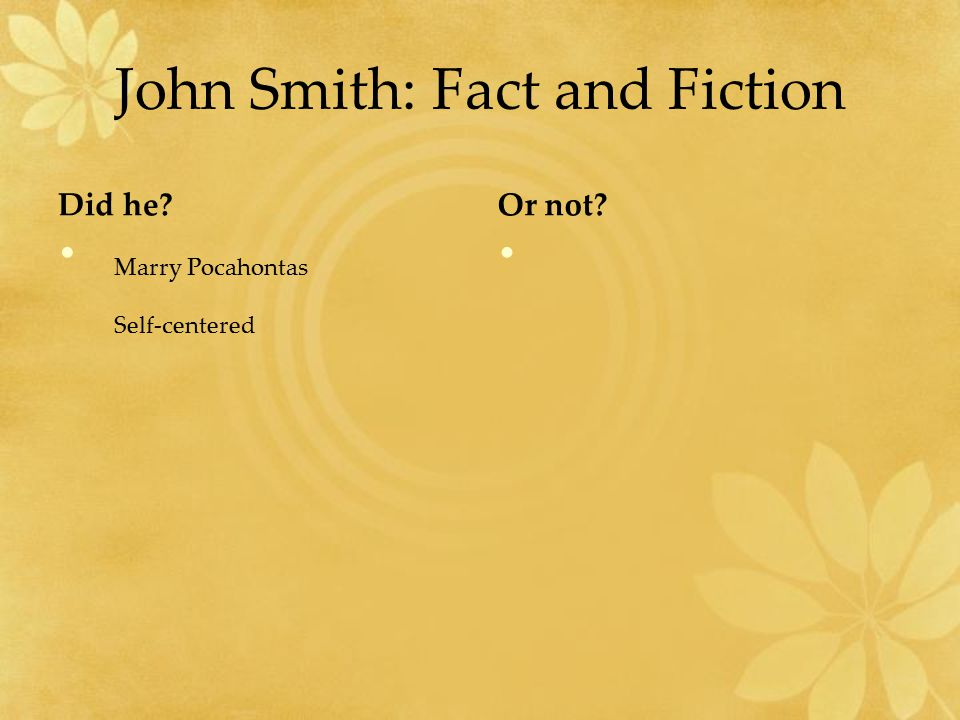 John Smith: Fact and Fiction Did he Or not Marry Pocahontas Self-centered