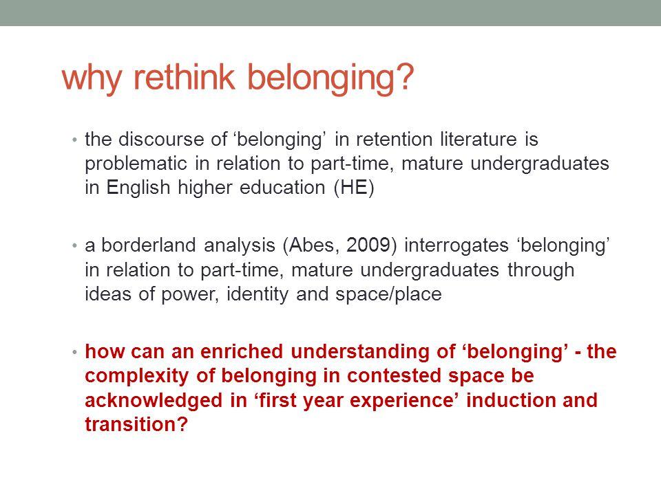 why rethink belonging.