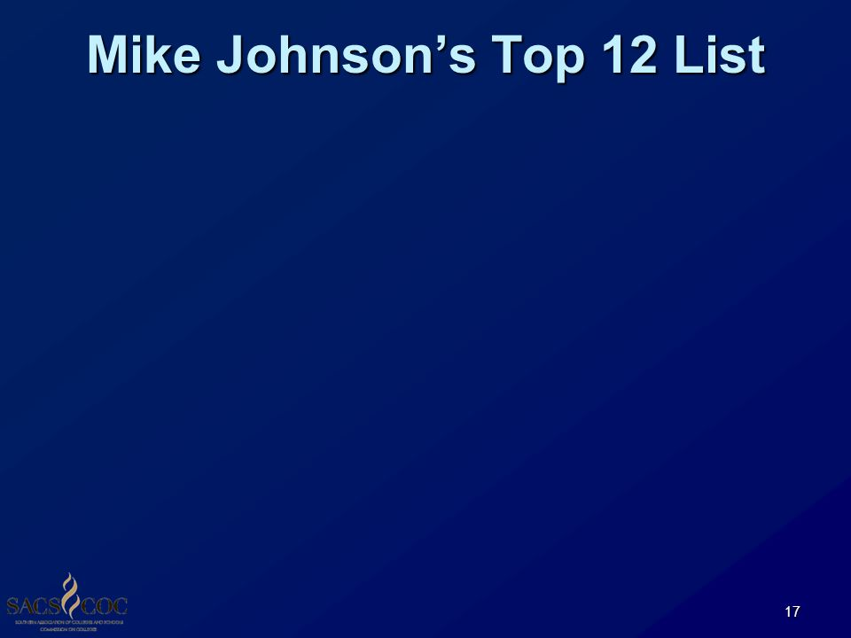 Mike Johnson's Top 12 List 17