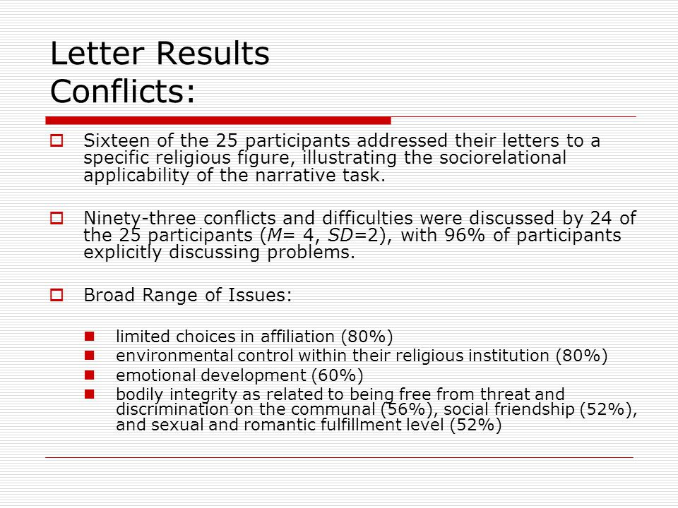 Letter Results Conflicts:  Sixteen of the 25 participants addressed their letters to a specific religious figure, illustrating the sociorelational ap