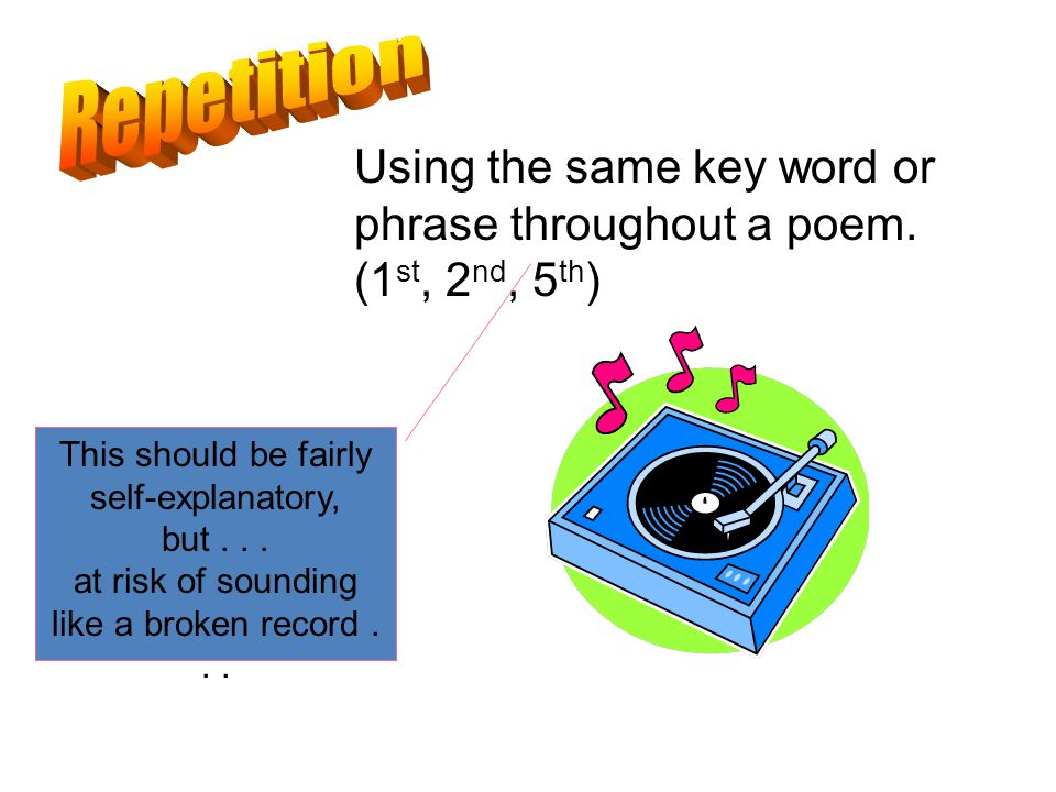 Using the same key word or phrase throughout a poem.