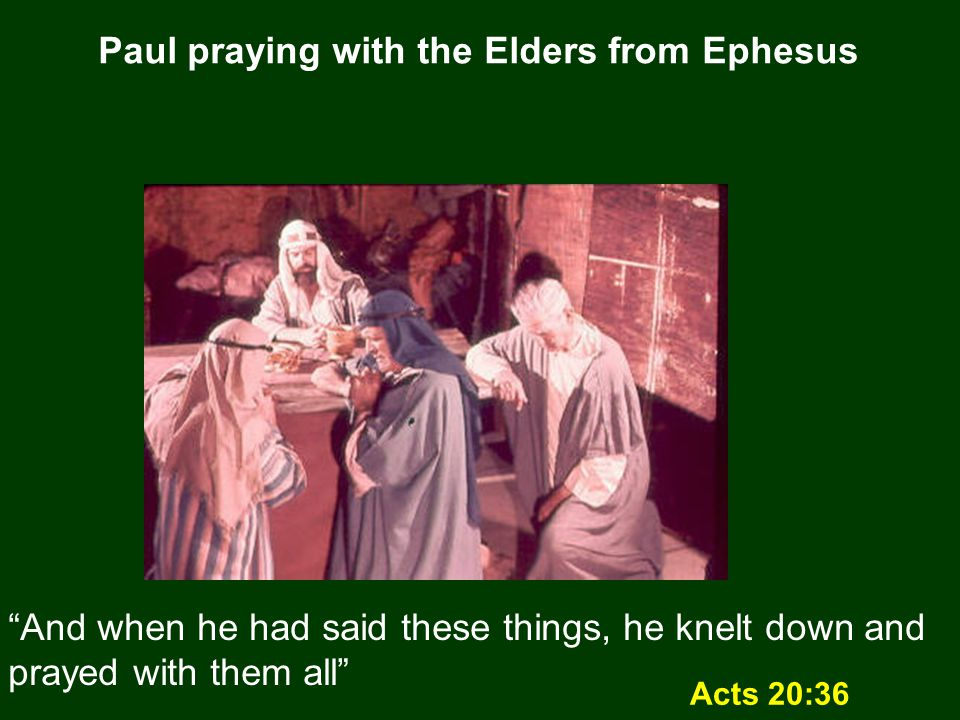 Paul praying with the Elders from Ephesus Acts 20:36 And when he had said these things, he knelt down and prayed with them all