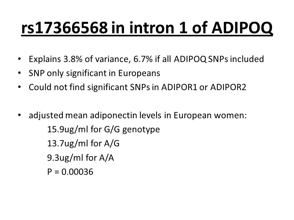 rs17366568 in intron 1 of ADIPOQ Explains 3.8% of variance, 6.7% if all ADIPOQ SNPs included SNP only significant in Europeans Could not find significant SNPs in ADIPOR1 or ADIPOR2 adjusted mean adiponectin levels in European women: 15.9ug/ml for G/G genotype 13.7ug/ml for A/G 9.3ug/ml for A/A P = 0.00036