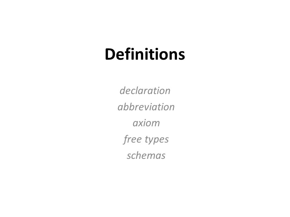 Definitions declaration abbreviation axiom free types schemas