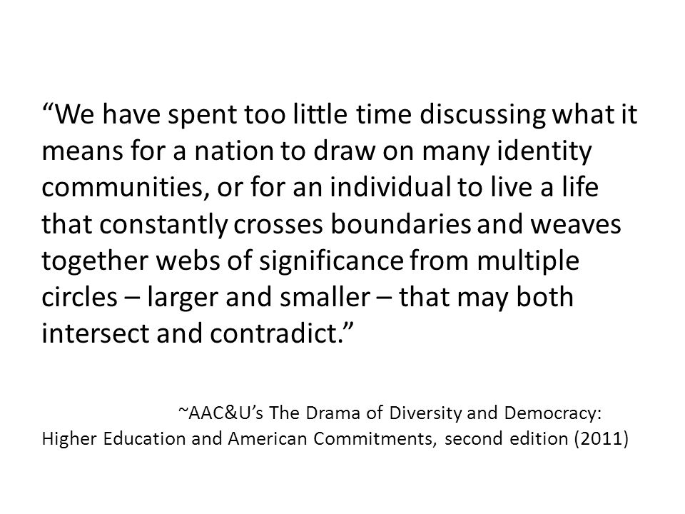 We have spent too little time discussing what it means for a nation to draw on many identity communities, or for an individual to live a life that constantly crosses boundaries and weaves together webs of significance from multiple circles – larger and smaller – that may both intersect and contradict. ~AAC&U's The Drama of Diversity and Democracy: Higher Education and American Commitments, second edition (2011)