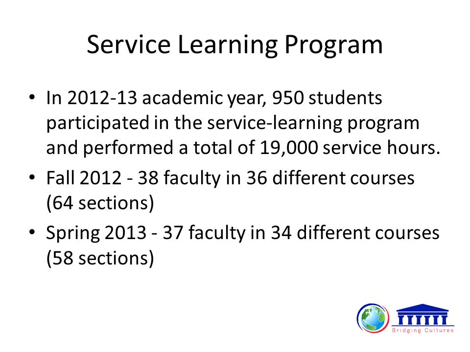 Service Learning Program In 2012-13 academic year, 950 students participated in the service-learning program and performed a total of 19,000 service hours.