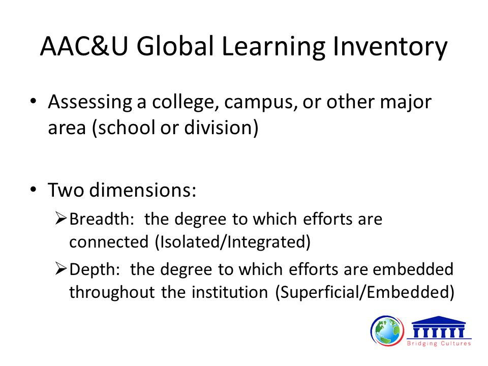 AAC&U Global Learning Inventory Assessing a college, campus, or other major area (school or division) Two dimensions:  Breadth: the degree to which efforts are connected (Isolated/Integrated)  Depth: the degree to which efforts are embedded throughout the institution (Superficial/Embedded)