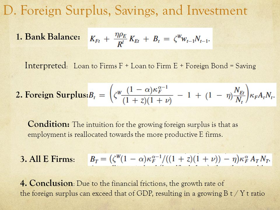 D. Foreign Surplus, Savings, and Investment 1.