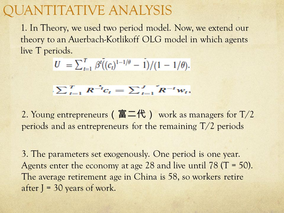 QUANTITATIVE ANALYSIS 1. In Theory, we used two period model.
