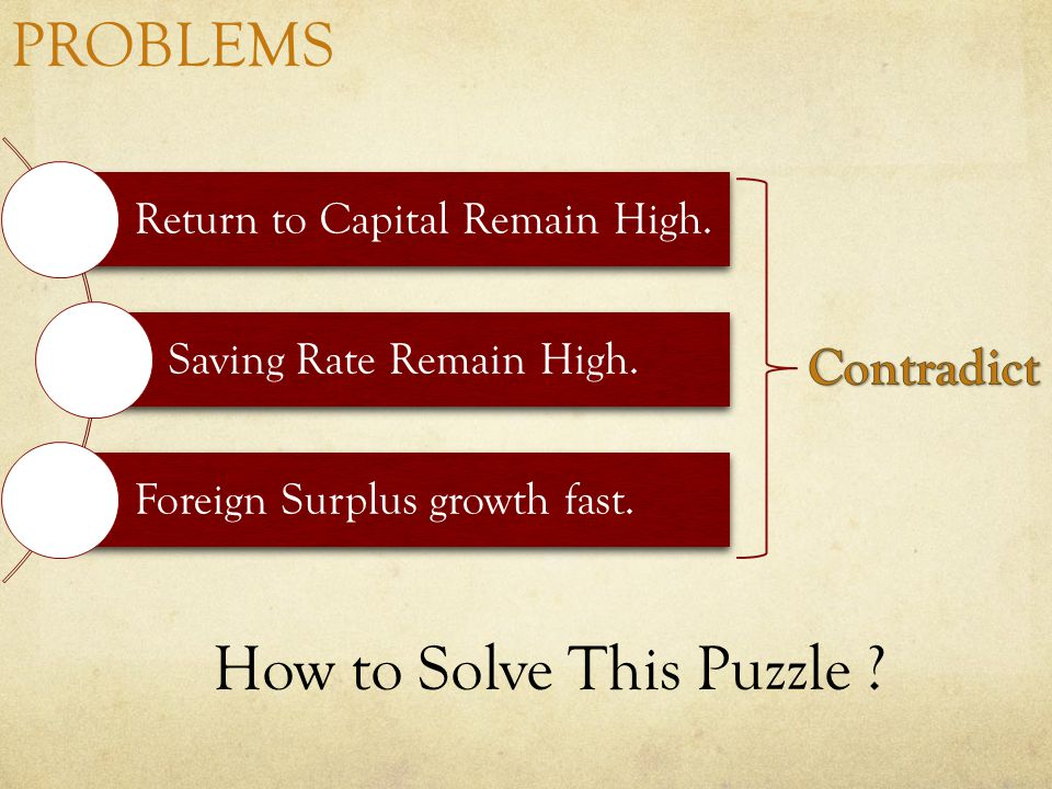 PROBLEMS Return to Capital Remain High. Saving Rate Remain High.
