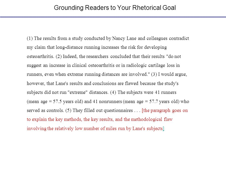 Grounding Readers to Your Rhetorical Goal (1) The results from a study conducted by Nancy Lane and colleagues contradict my claim that long-distance r
