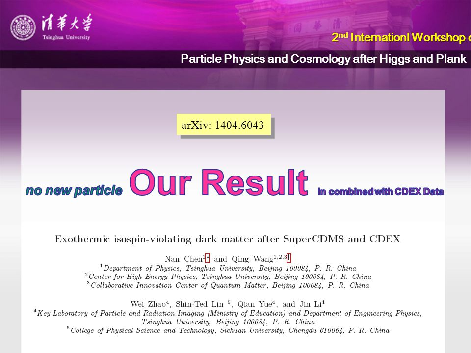 arXiv: 1404.6043 2 nd Internationl Workshop on 2 nd Internationl Workshop on Particle Physics and Cosmology after Higgs and Plank