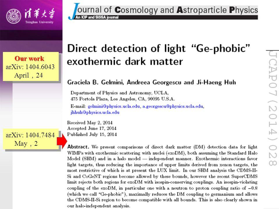 Our work arXiv: 1404.6043 April , 24 Our work arXiv: 1404.6043 April , 24 arXiv: 1404.7484 May , 2 arXiv: 1404.7484 May , 2
