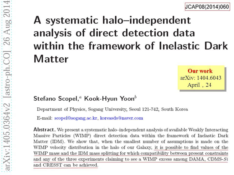 Our work arXiv: 1404.6043 April , 24 Our work arXiv: 1404.6043 April , 24