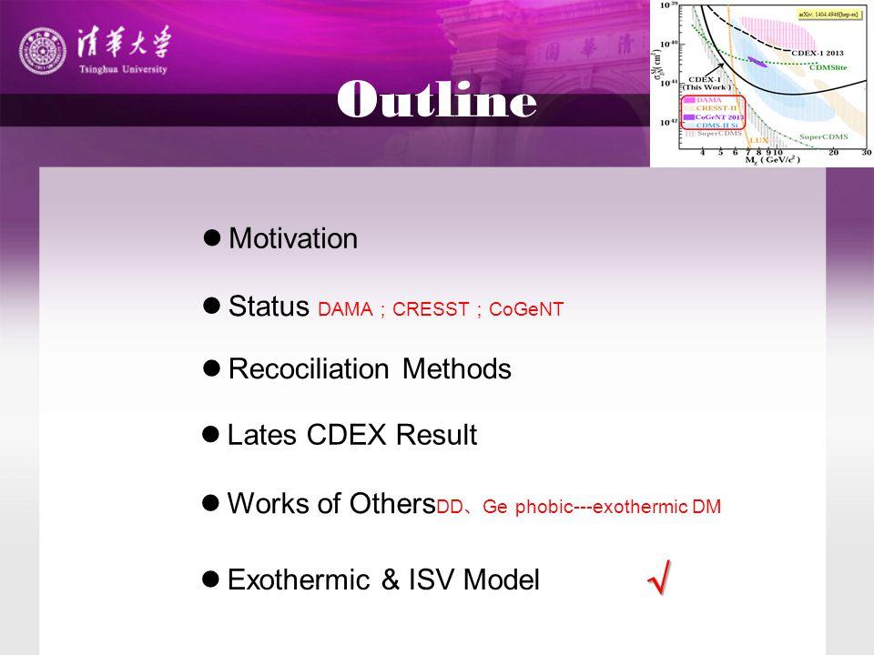 Outline Motivation Status DAMA ; CRESST ; CoGeNT Recociliation Methods Works of Others DD 、 Ge phobic---exothermic DM Lates CDEX Result Exothermic & ISV Model √