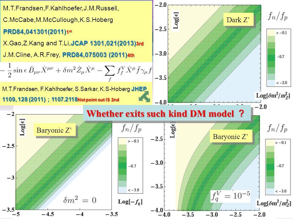 Dark Z' Baryonic Z' M.T.Frandsen,F.Kahlhoefer,J.M.Russell, PRD84,041301(2011) 1 st C.McCabe,M.McCullough,K.S.Hoberg PRD84,041301(2011) 1 st JCAP 1301,021(2013) 3rd X.Gao,Z.Kang and T.Li,JCAP 1301,021(2013) 3rd PRD84,075003 (2011) 4th J.M.Cline, A.R.Frey, PRD84,075003 (2011) 4th JHEP 1109, 128 (2011) ; 1107.2118 Not point out IS 2nd M.T.Frandsen, F.Kahlhoefer, S.Sarkar, K.S-Hoberg JHEP 1109, 128 (2011) ; 1107.2118 Not point out IS 2nd Whether exits such kind DM model ?