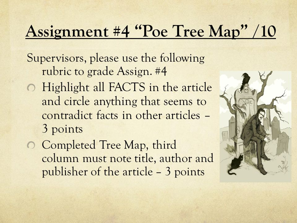 Assignment #4 Poe Tree Map /10 Supervisors, please use the following rubric to grade Assign.