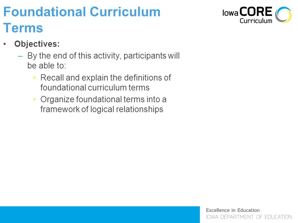 Foundational Curriculum Terms Objectives: –By the end of this activity, participants will be able to: Recall and explain the definitions of foundational curriculum terms Organize foundational terms into a framework of logical relationships