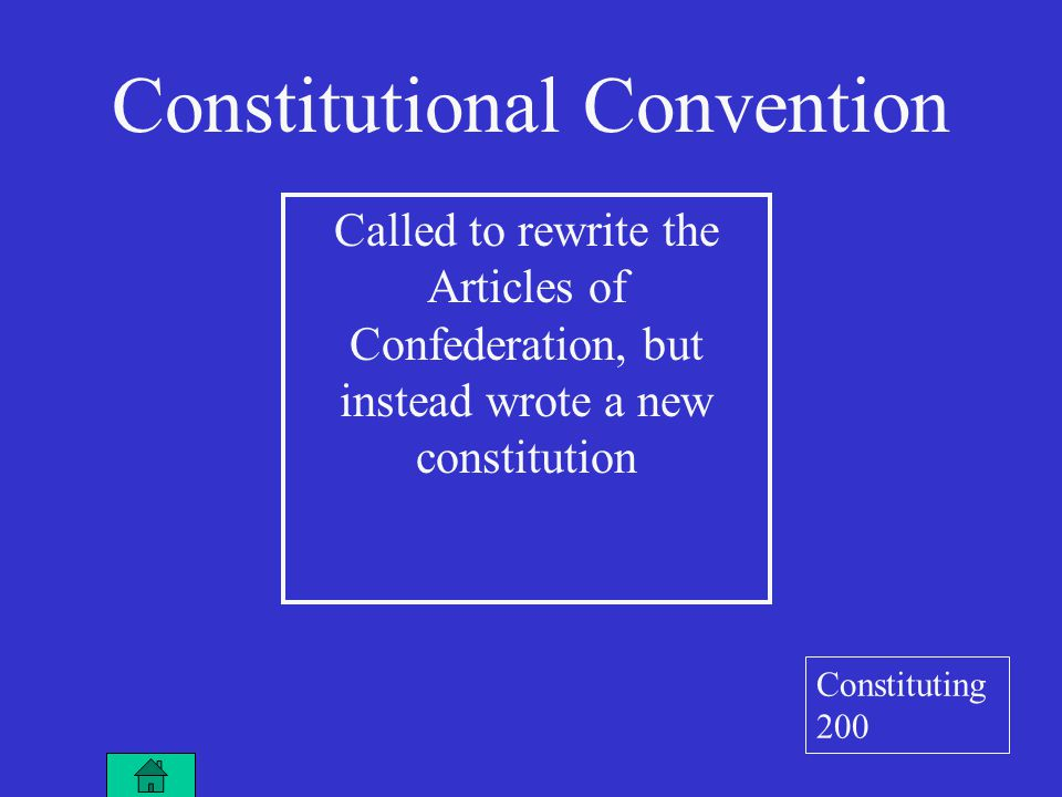 Called to rewrite the Articles of Confederation, but instead wrote a new constitution Constitutional Convention Constituting 200