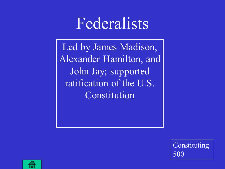 Led by James Madison, Alexander Hamilton, and John Jay; supported ratification of the U.S.