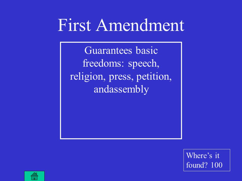 First Amendment Guarantees basic freedoms: speech, religion, press, petition, andassembly Where's it found.